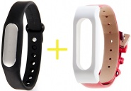Фитнес-браслет Xiaomi Mi Band 1S Pulse Black + ремешок Leather Wrist Band (Red/White)