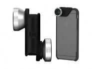 Объектив Olloclip 4-in-1 (Silver/Black) + чехол OlloCase для iPhone 6 Plus (Clear/Gray)
