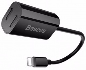 Переходник Baseus IP To Double IP Socket Adapter (Black) Lightning to 2xLightning