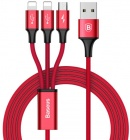 Кабель Baseus Rapid Series 3 в 1 (CAMLL-SU09) Micro+Lightning+Type-C (Red)