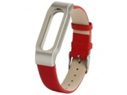 Xiaomi Leather Wrist Band Red/Silver сменный ремешок для Xiaomi Mi band