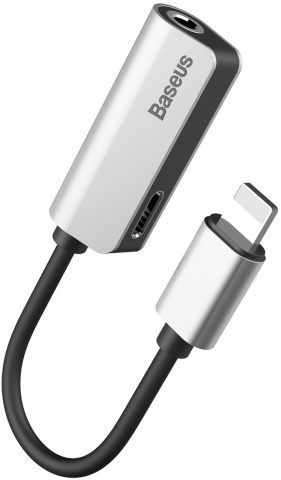 Переходник Baseus Charging and Lightning to 3.5 mm Jack (Silver)