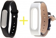 Фитнес-браслет Xiaomi Mi Band 1S Pulse Black + ремешок Leather Wrist Band (Black/White)