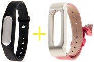 Фитнес-браслет Xiaomi Mi Band 1S Pulse Black + ремешок Leather Wrist Band (Red/Gold)