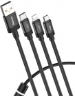 Кабель Baseus Data Faction 3-in-1 USB For M+L+T (CAMLT-PY01) 3.5 A 1.2 m (Black)