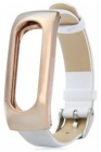Сменный ремешок Leather Wrist Band для Xiaomi Mi Band (Gold/White)